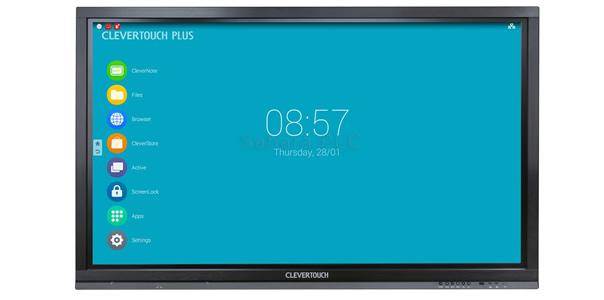 """nuevos paneles LED interactivos Clevertouch Plus LUX que incorporan el módulo Android OPS intercambiable y el interfaz de usuario LUX, el más avanzado jamás construido en una pantalla táctil interactiva de gran formato. Los nuevos monitores Clevertouch Plus LUX están destinados al entorno educativo y se encuentran disponibles en 55"""", 65"""", 75"""" y 84""""."""