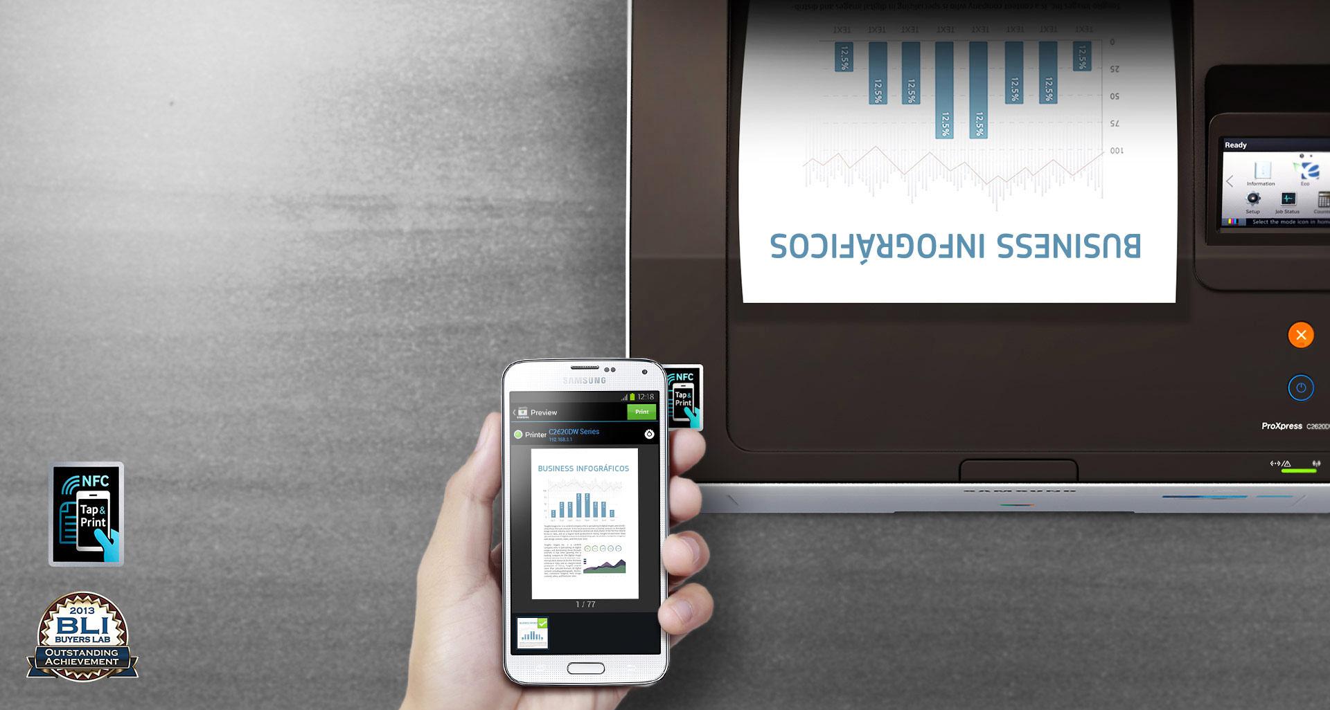 Impresión Samsung NFC tocar imprimir y listo
